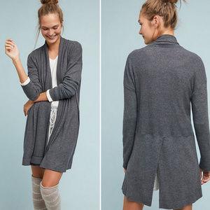 (COA) Gray Cozy Brushed Fleece Cardigan